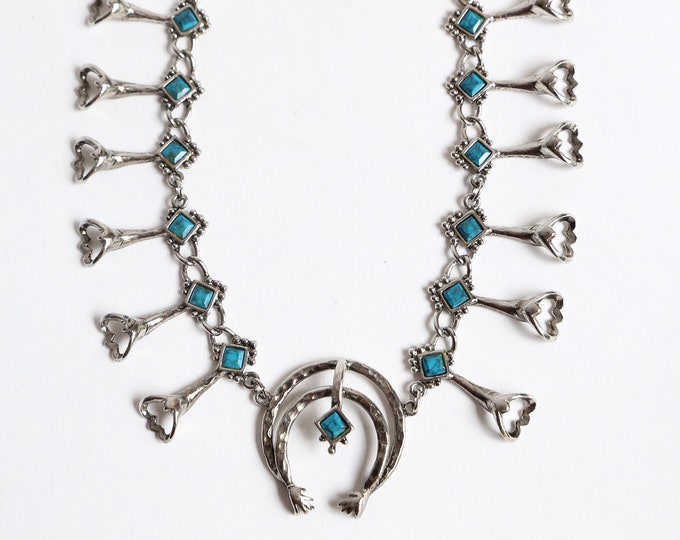 70s SQUASH BLOSSOM replica silver turquoise necklace / vintage 1970s Southwest native choker bib necklace costume