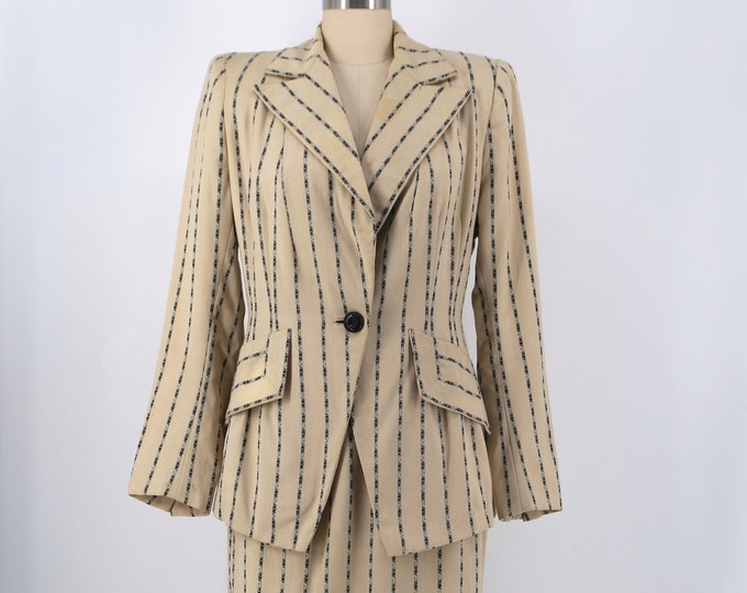 40s wide pinstripe graphic wool blazer skirt suit vintage late 1940s 10