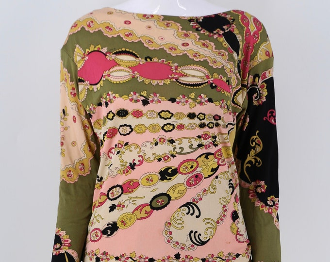 60s Emilio Pucci silk jersey signed psychedelic print knit blouse top vintage 1960s