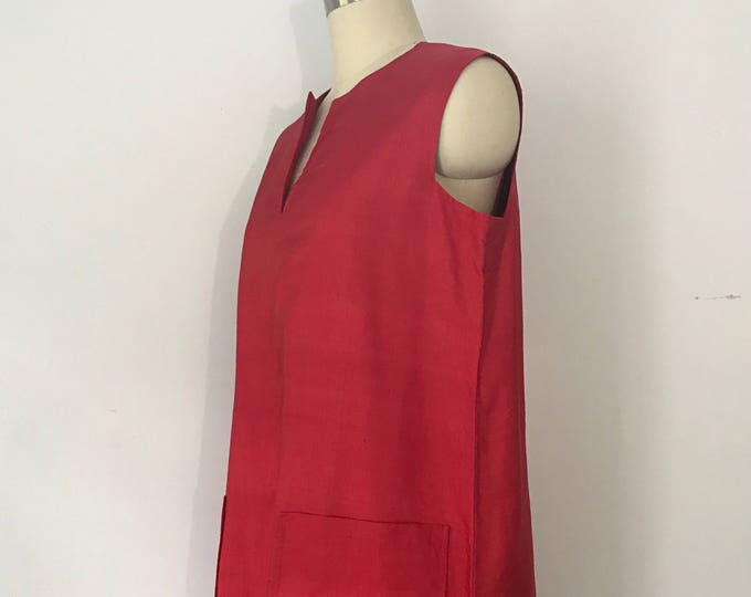 70s HALSTON red raw silk TRAPEZE tent shift dress w pockets 1970s vintage 12