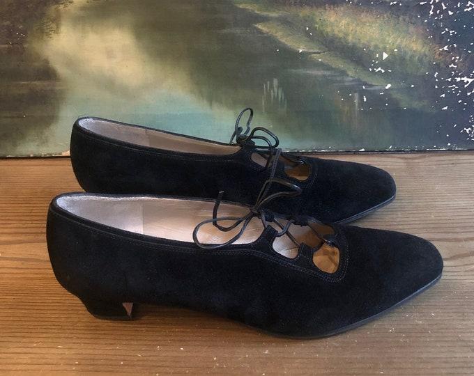 FERRAGAMO Black Suede Lace up Kitten Heel Pumps  SZ 10