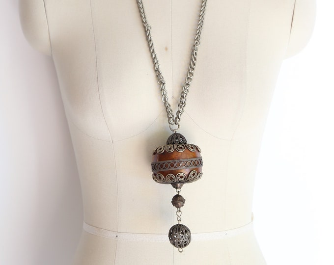 70s ethnic silver wood necklace / vintage 1970s heavy pendant statement necklace India