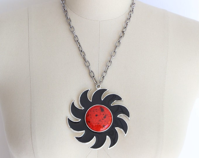 70s BLACK SUN giant pendant necklace / vintage 1970s silver enamel statement necklace choker