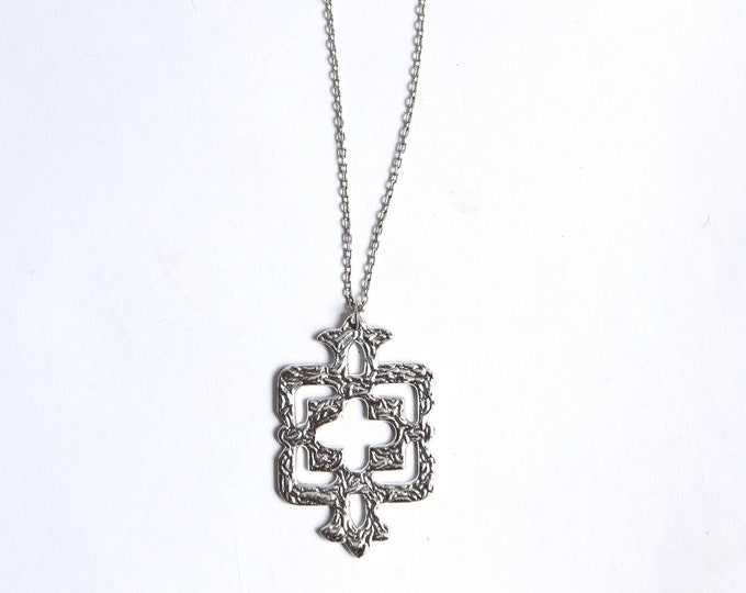 70s brutalist silver pendant necklace / vintage 1970s geometric heavy statement necklace