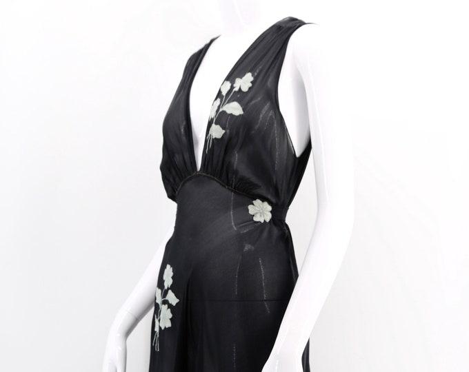 30s black silk chiffon lingerie slip / vintage 1930s floral appliqué slip dress bias cut antique size M-L