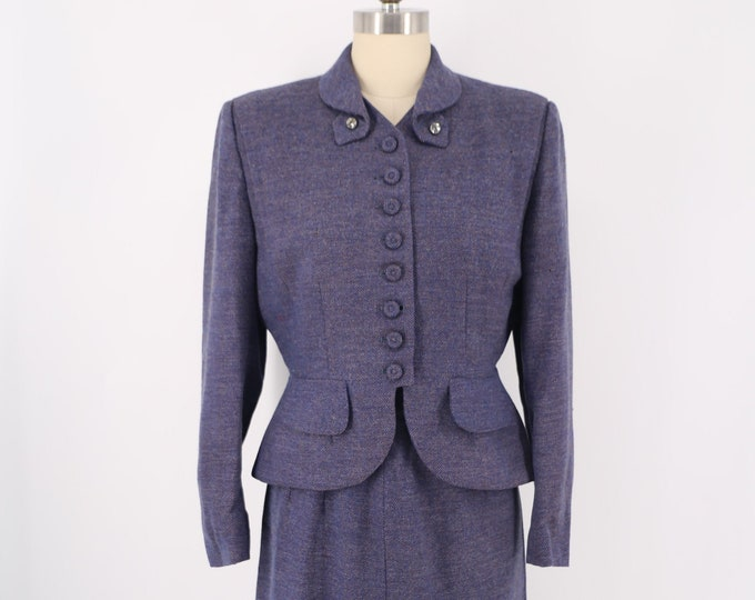50s slate blue wool skirt suit 8-10