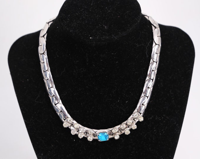 80s silver rhinestone link chain choker / vintage 1980s does 50s  costume necklace jewelry