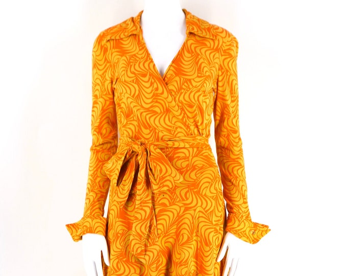 70s DVF yellow orange print wrap dress size 10 / vintage 1970s Diane Von Furstenberg swirl print 50/50 classic dress as is