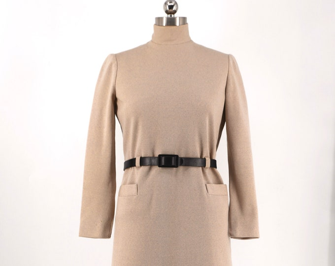 60s NORMAN NORELL oatmeal wool belted dress