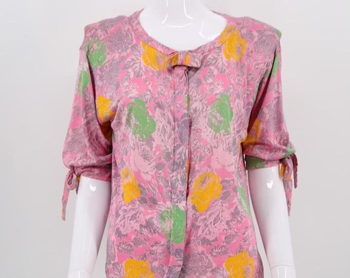 80s UNGARO pink floral print blouse / vintage 1980s Emanuel Ungaro silk jersey bow top size 6