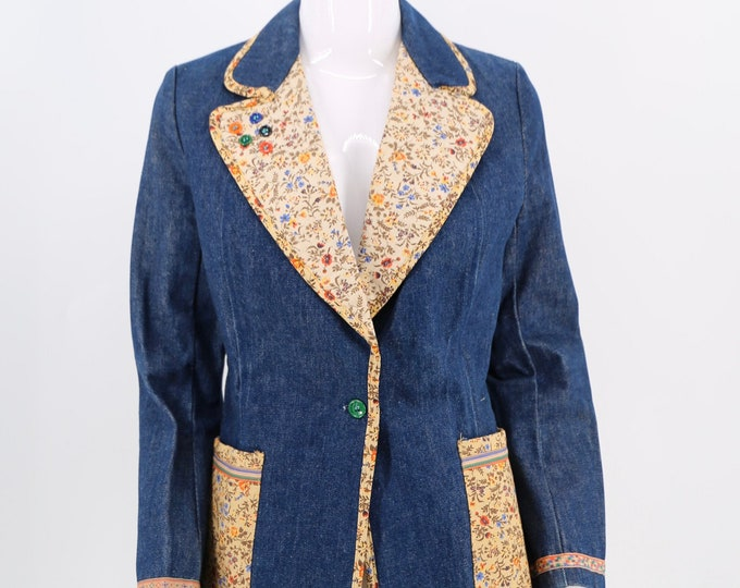 70s French Dressing Co patchwork denim blazer / vintage 1970s dark denim trim jacket 11 / M
