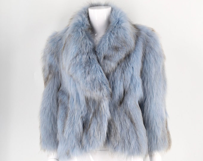 90s blue fox fur jacket size xl / supple long hair fox vintage coat vintage 1990s 2000s