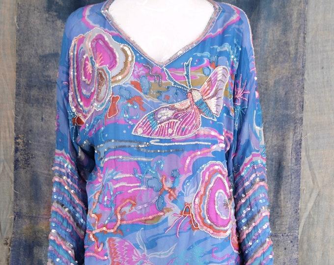70s Judith Ann chiffon sequin blouse / vintage 1970s creations butterfly moth print beaded chiffon disco top sz L