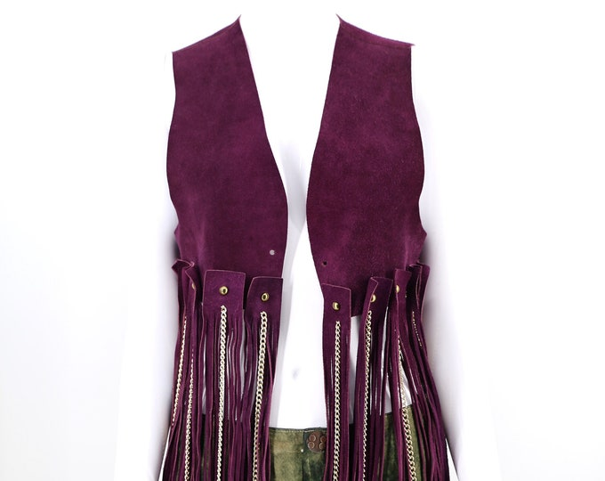 60s Woodstock era purple suede fringe & chains vest / 1960s vintage festival hippy top unisex size