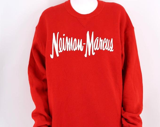 80s vintage NIEMAN MARCUS soft red sweatshirt L / 1980s designer 50/50 cotton fleece sweatshirt t shirt XL