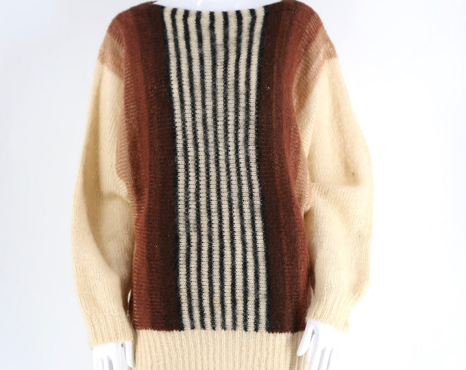 80s KANSAI YAMAMOTO striped mohair slouchy knit sweater / vintage 1980s earth tone tunic style sz M-L