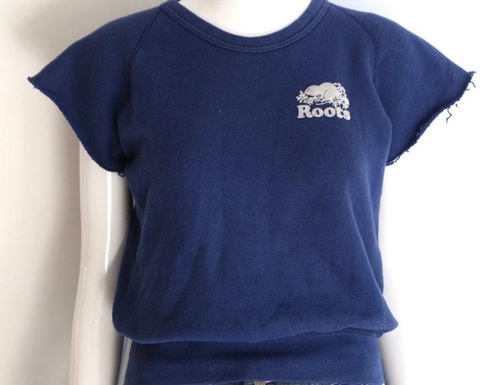 70s vintage ROOTS navy blue comfy T shirt sweatshirt tee top sz S 1970s