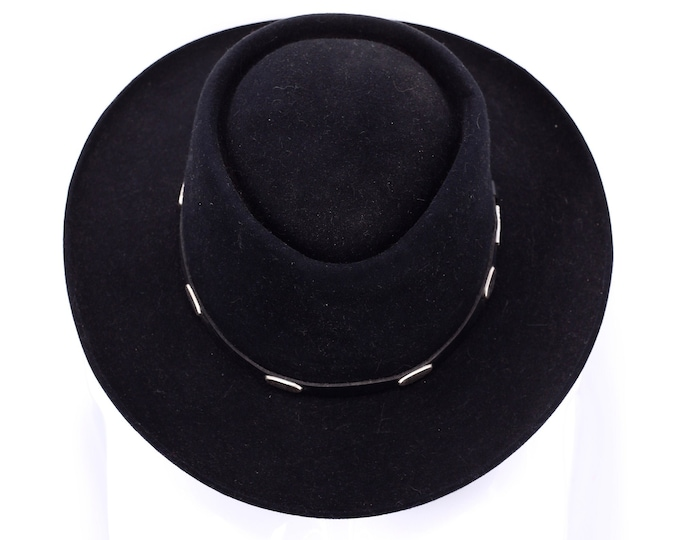 vintage STETSON black felt GUN CLUB western hat / Stetson felt wide brim cowboy ranch hat with silver accents 22