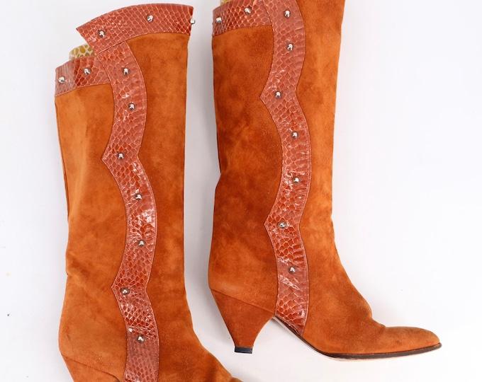 80s rust suede studded snakeskin gauntlet boots sz 6.5 / vintage 1980s Italian low heel knee high boots