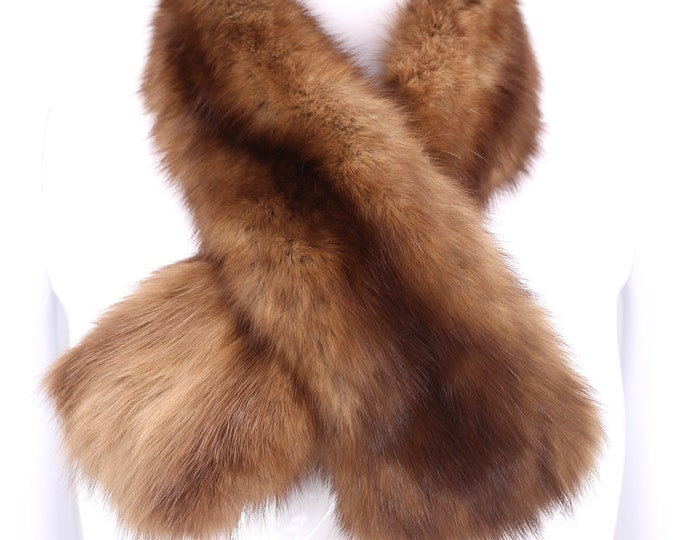 "60s SABLE FUR scarf / vintage fur stole / 70s boa Russian Sable 30"""