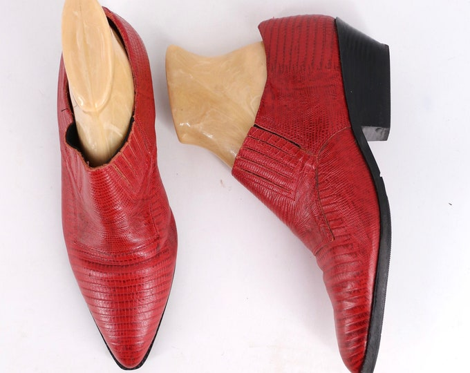 90s TRIBECA red lizard leather slip on Western shoes sz 10 / vintage 1990s oxfords flats shoe boots slip ons Brazil