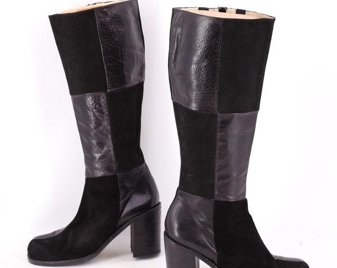 90s black patchwork boots sz 8.5 / vintage 1990s Nine West suede leather stack heel knee high boots
