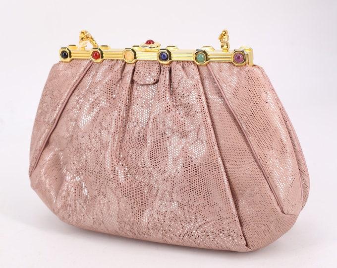 lizard JUDITH LEIBER pink jeweled clutch / vintage 1980s Karung lizard skin leather gold frame purse shoulder bag cross body 1986