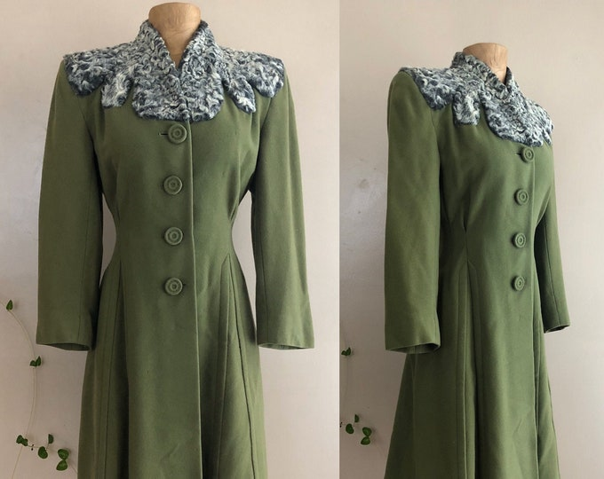 40s sage green lamb fur trim wool coat / vintage 1940s tailored pin up coat 30s size 6-8