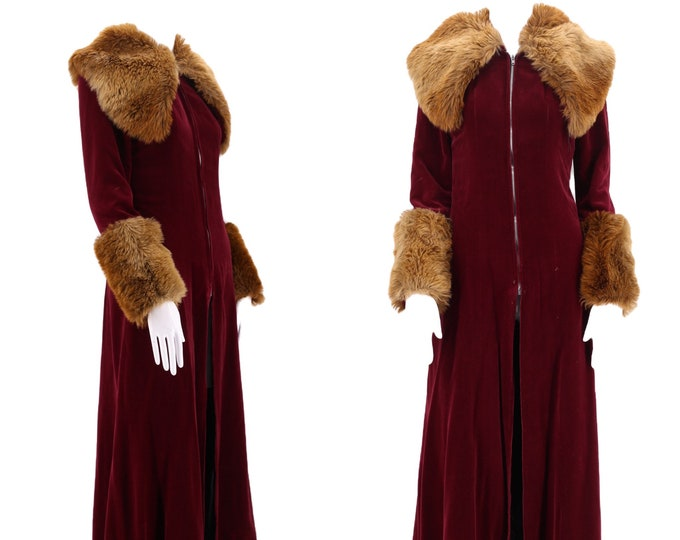 70s ARISTOS wine velvet coat faux fur trim / vintage 1970s Carnaby St London Glam rock maxi duster coat S rare UK 12