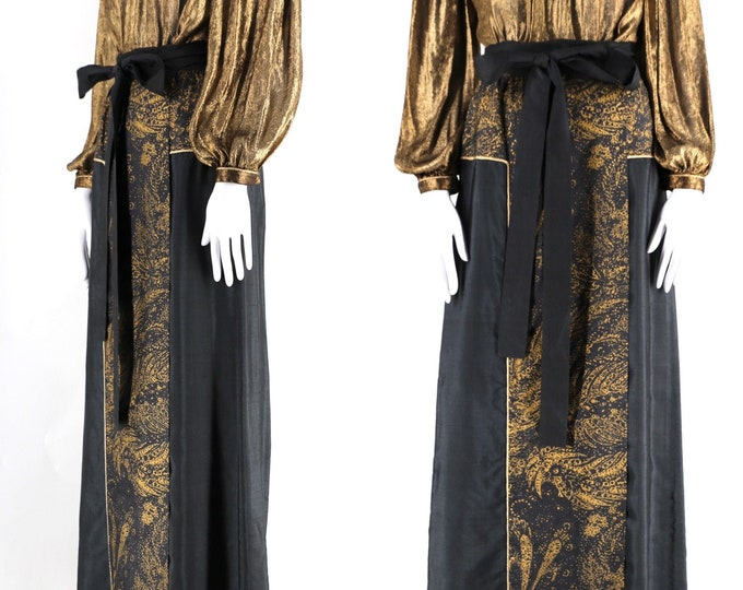 70s YSL Yves Saint Laurent painted wrap skirt 42 / 1970s vintage black & gold silk evening maxi dress skirt 42 10 adjustable