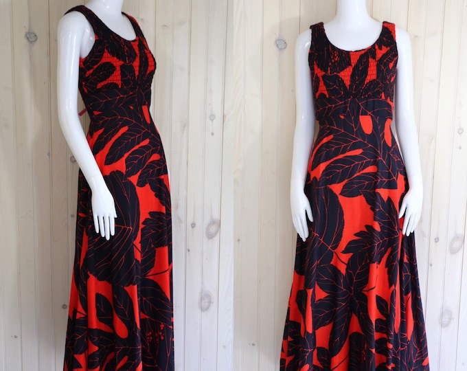 70s GENE STANLEY print maxi dress size M / vintage 1970s red & black palm leaf print gown dress sz  8 - 10