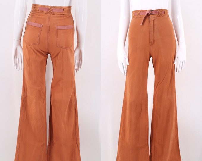70s high waist rust cotton bell bottoms 24 / vintage 1970s Blu Spirit denim cotton wide leg bells jeans pants sz 4