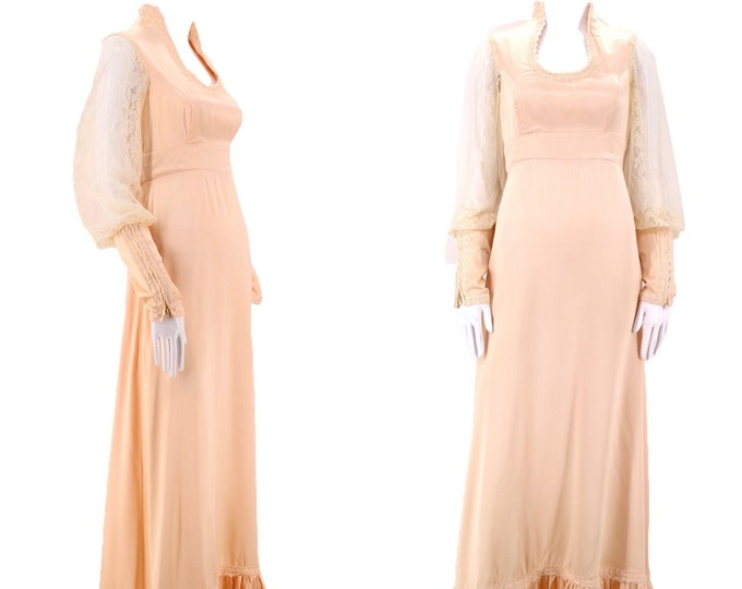 70s GUNNE SAX pink satin lace prairie dress 9 / vintage 1970s ruffle peasant dress gown