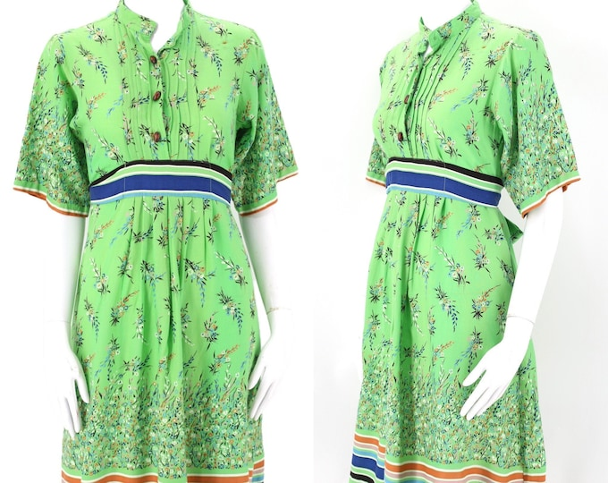 70s RAGTIME spring green floral rayon dress S / vintage 1970s boho peasant dress sz small