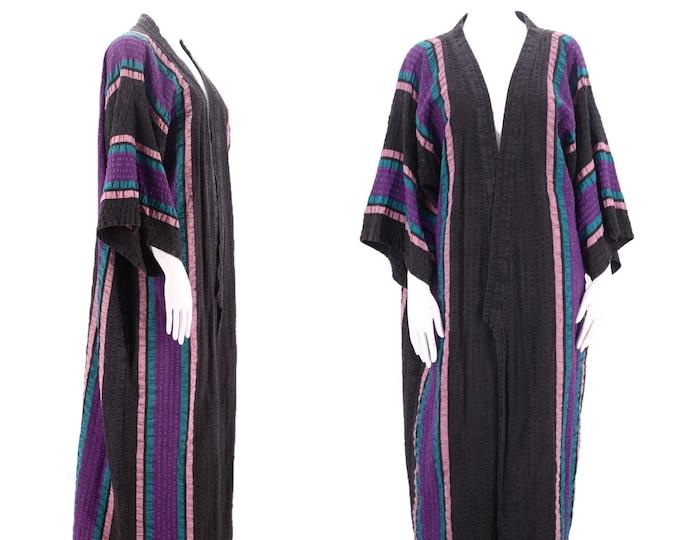70s cotton kimono robe / vintage 1970s textured striped full length duster coat beach travel L