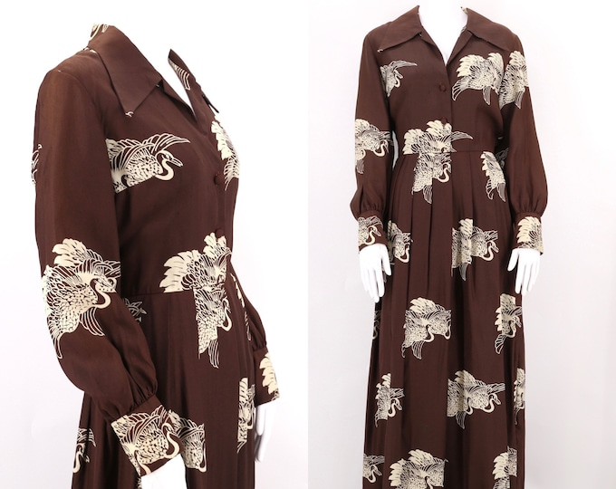 70s CRANE print silk dress size L / vintage 1970s Stanley Sherman brown peasant gown maxi dress sz  8 - 10