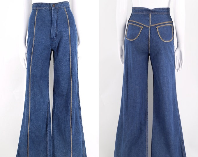 70s high waisted sz 25 seamed denim bell bottoms jeans  / vintage 1970s seamed stitched flares pants