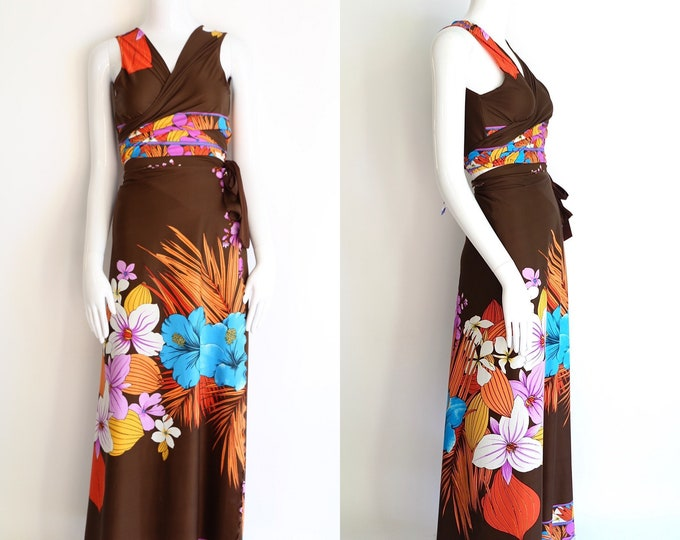 70s wrap dress / vintage 1970s brown tropical floral two piece outfit set wrap around top and wrap skirt lounge pool swimwear bathing suit