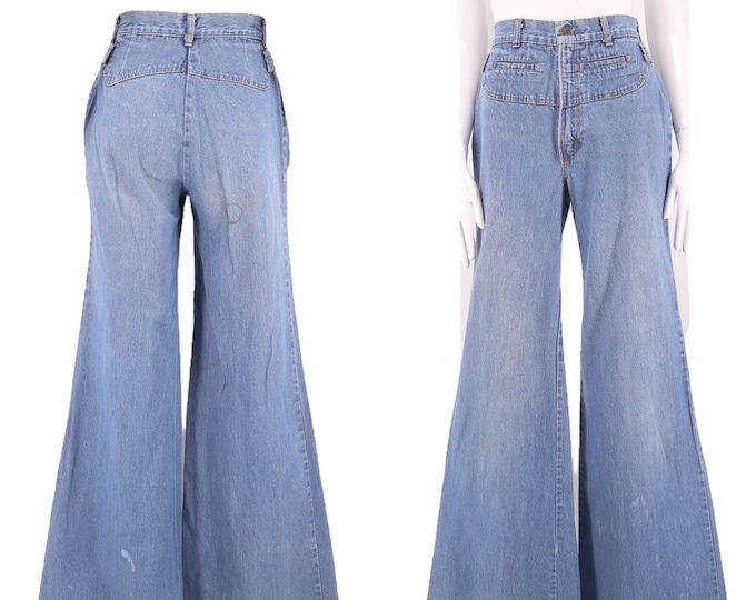 70s H.I.S high waisted wide leg denim bell bottoms jeans 25  / vintage 1970s elephant bell  flares  sz 5-6