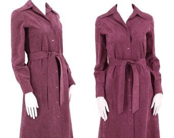 70s HALSTON ultra suede trench coat dress M / vintage 1970s dusky purple Iconic original designer tie dress
