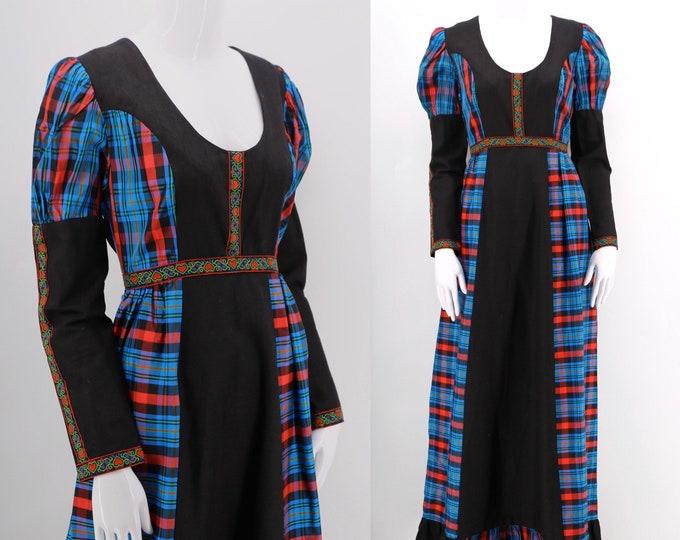 60s Gunne Sax black label Medieval Scottish plaid taffeta cotton pouf sleeve gown / late 1960s vintage prairie maxi dress 1970s size 11