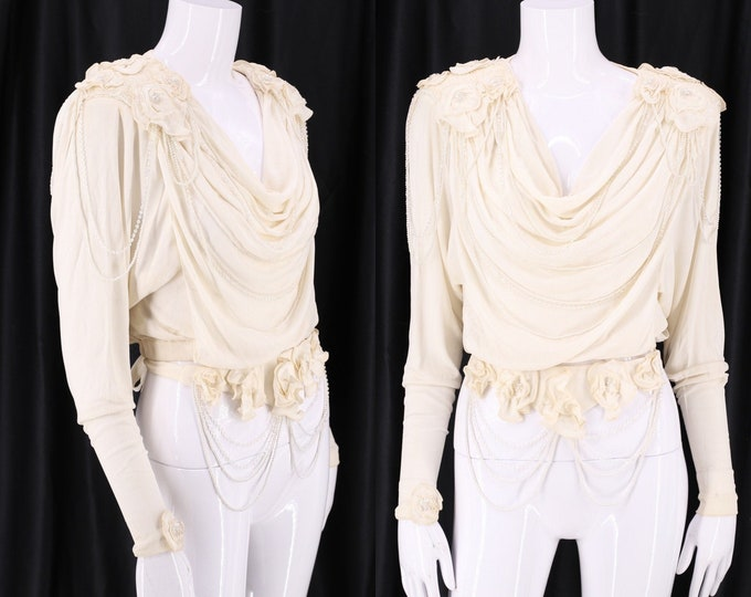 80s HOLLY HARP white silk jersey beaded blouse / vintage 1970s Hollys Harp Stevie wedding top and belt sz S