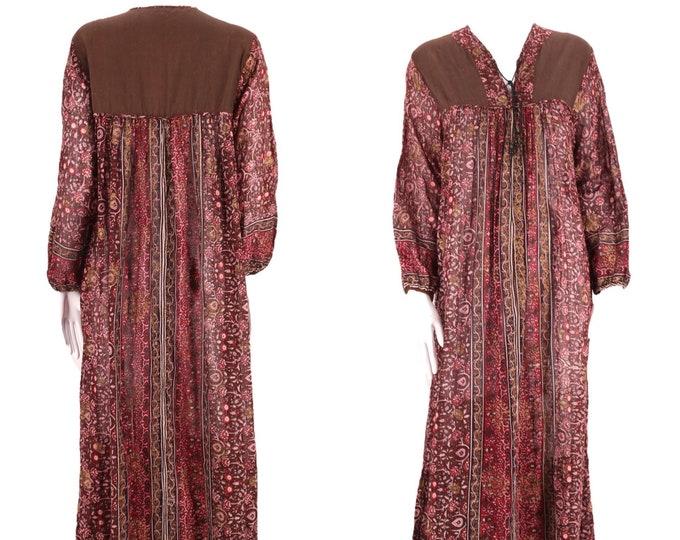 70s tissue cotton India print peasant dress L / vintage 1970s brown garnet hippy festival caftan maxi sz Large