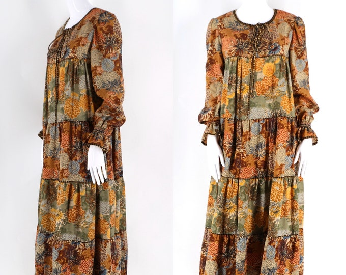 70s Anna Belinda chrysanthemum print maxi dress / 1970s vintage oxford England peasant gown sz 6