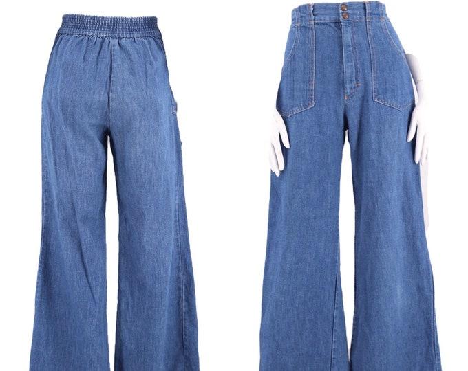 70s LEAN JEANS high rise denim bell bottoms  sz 26 / vintage 1970s bells flares pants elastic back 6-8 M