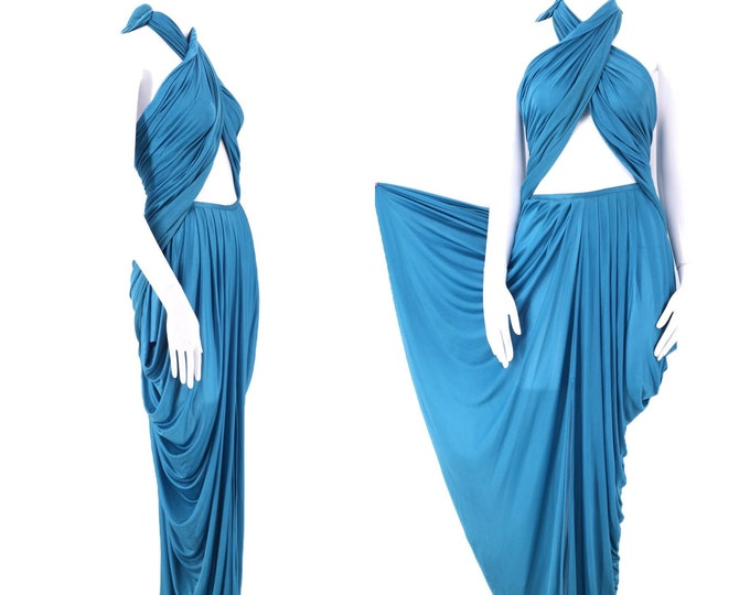 "80s OMO Norma Kamali silk goddess dress / vintage 1980s fluid Grecian draped 2 pc set skirt and shawl 25"" waist  RARE"