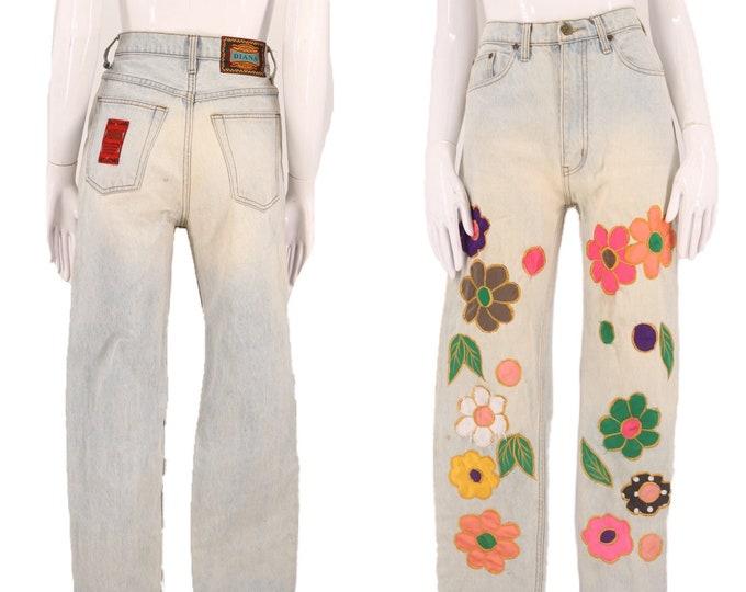 90s appliqué high waisted jeans 28 / vintage early 1990s light denim satin flower print denim pants DIANA