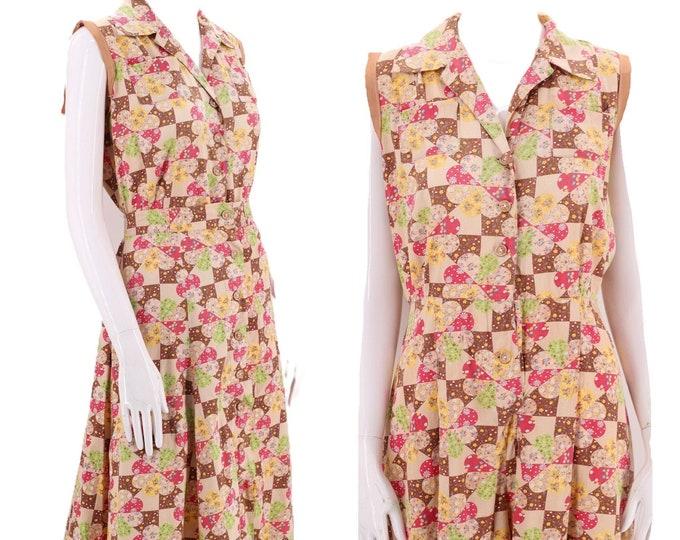 40s romper playsuit set sz L / vintage 1940s cotton quilt print sportswear one piece step in & skirt outfit 12 14 XL