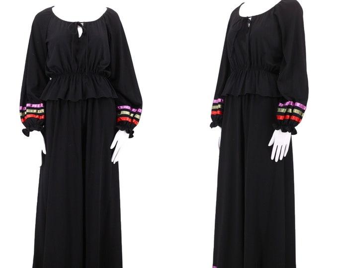 70s CLOVIS RUFFIN black peasant set 8 / 1970s vintage 2 pc set / peasant blouse maxi skirt w/ ribbon trim M