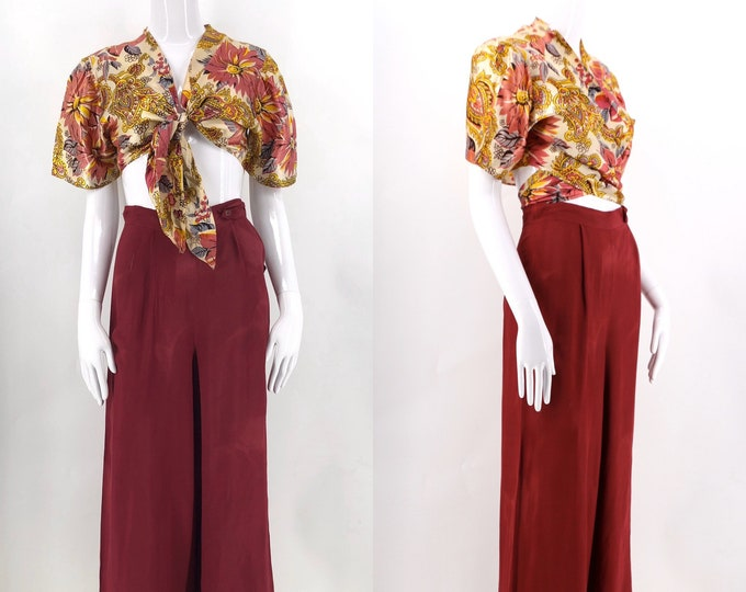 """30s rayon lounge outfit / 1930s 40s vintage floral rayon satin blouse and high waisted pants beach pajamas 2 pc 26"""""""